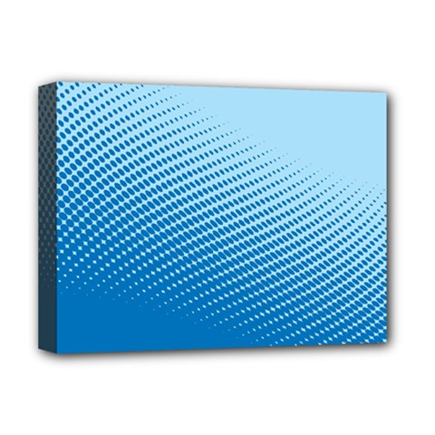 Blue Dot Pattern Deluxe Canvas 16  X 12   by Amaryn4rt