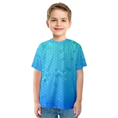 Blue Seamless Black Hexagon Pattern Kids  Sport Mesh Tee