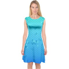 Blue Seamless Black Hexagon Pattern Capsleeve Midi Dress by Amaryn4rt