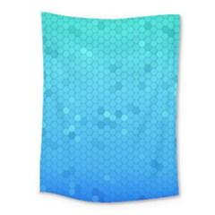 Blue Seamless Black Hexagon Pattern Medium Tapestry by Amaryn4rt