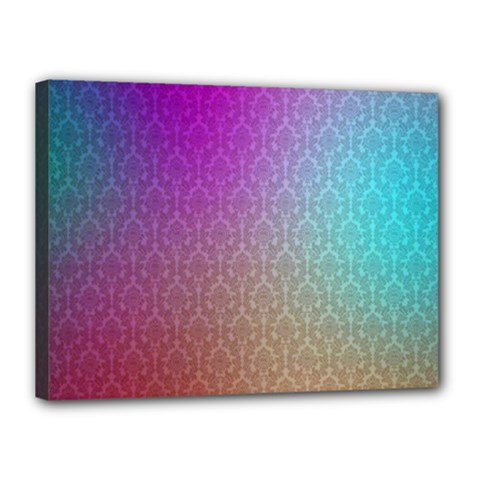 Blue And Pink Colors On A Pattern Canvas 16  X 12  by Amaryn4rt