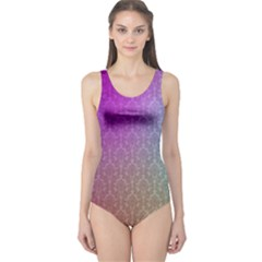 Blue And Pink Colors On A Pattern One Piece Swimsuit by Amaryn4rt