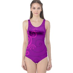 Floraly Swirlish Purple Color One Piece Swimsuit by Amaryn4rt