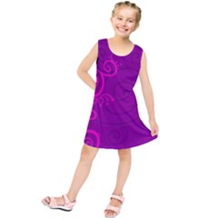 Floraly Swirlish Purple Color Kids  Tunic Dress