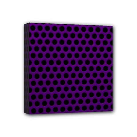 Dark Purple Metal Mesh With Round Holes Texture Mini Canvas 4  X 4  by Amaryn4rt