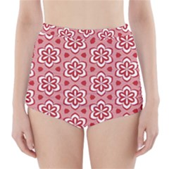 Floral Abstract Pattern High Waisted Bikini Bottoms by Amaryn4rt