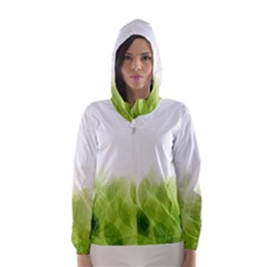 Green Leaves Pattern Hooded Wind Breaker (Women) by Amaryn4rt