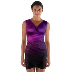 Purple Wallpaper Wrap Front Bodycon Dress