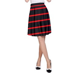 Red And Black Horizontal Lines And Stripes Seamless Tileable A Line Skirt