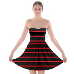 Red And Black Horizontal Lines And Stripes Seamless Tileable Strapless Bra Top Dress