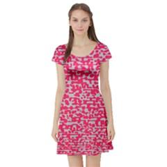 Template Deep Fluorescent Pink Short Sleeve Skater Dress