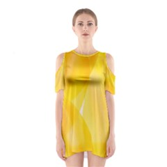 Yellow Pattern Painting Shoulder Cutout One Piece