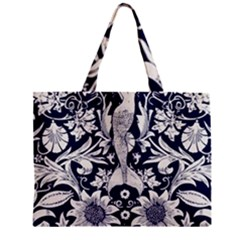 White Dark Blue Flowers Zipper Mini Tote Bag by Brittlevirginclothing