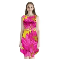 Cute pink flower Sleeveless Chiffon Dress   by Brittlevirginclothing