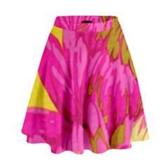 Cute Pink Flower High Waist Skirt by Brittlevirginclothing