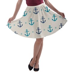 Sailor Anchor A Line Skater Skirt by Brittlevirginclothing