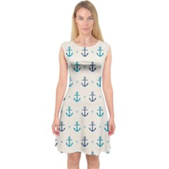 Sailor anchor Capsleeve Midi Dress by Brittlevirginclothing