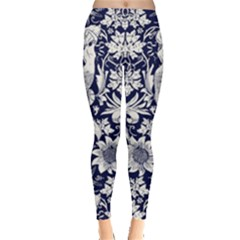 Deep Blue Flower Leggings  by Brittlevirginclothing