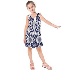 Deep Blue Flower Kids  Sleeveless Dress by Brittlevirginclothing