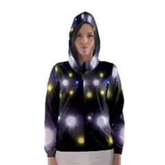 Abstract Dark Spheres Psy Trance Hooded Wind Breaker (women) by Amaryn4rt