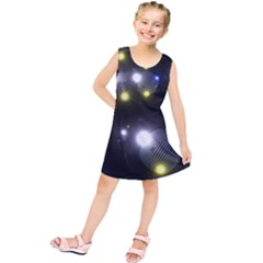 Abstract Dark Spheres Psy Trance Kids  Tunic Dress by Amaryn4rt