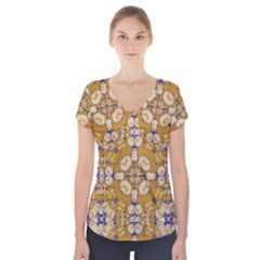 Abstract Elegant Background Card Short Sleeve Front Detail Top