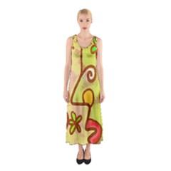 Abstract Faces Abstract Spiral Sleeveless Maxi Dress