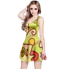 Abstract Faces Abstract Spiral Reversible Sleeveless Dress by Amaryn4rt