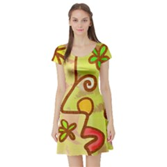 Abstract Faces Abstract Spiral Short Sleeve Skater Dress