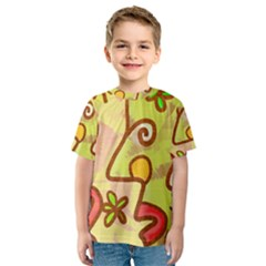 Abstract Faces Abstract Spiral Kids  Sport Mesh Tee