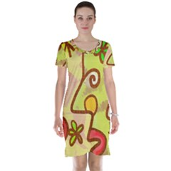 Abstract Faces Abstract Spiral Short Sleeve Nightdress