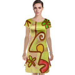 Abstract Faces Abstract Spiral Cap Sleeve Nightdress