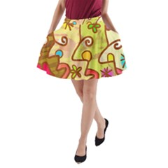 Abstract Faces Abstract Spiral A Line Pocket Skirt by Amaryn4rt