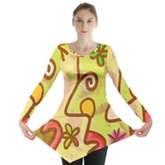 Abstract Faces Abstract Spiral Long Sleeve Tunic