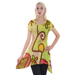 Abstract Faces Abstract Spiral Short Sleeve Side Drop Tunic by Amaryn4rt