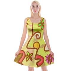 Abstract Faces Abstract Spiral Reversible Velvet Sleeveless Dress