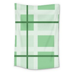 Abstract Green Squares Background Large Tapestry