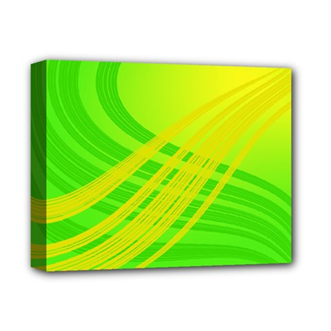 Abstract Green Yellow Background Deluxe Canvas 14  X 11  by Amaryn4rt