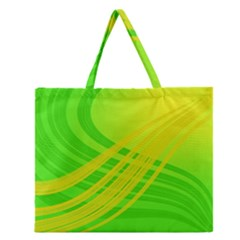 Abstract Green Yellow Background Zipper Large Tote Bag by Amaryn4rt