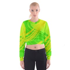 Abstract Green Yellow Background Women s Cropped Sweatshirt by Amaryn4rt