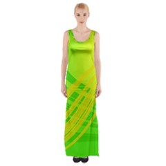 Abstract Green Yellow Background Maxi Thigh Split Dress by Amaryn4rt