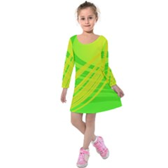 Abstract Green Yellow Background Kids  Long Sleeve Velvet Dress by Amaryn4rt