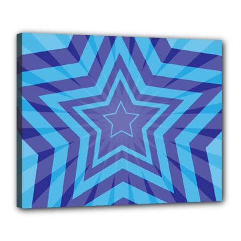 Abstract Starburst Blue Star Canvas 20  X 16  by Amaryn4rt