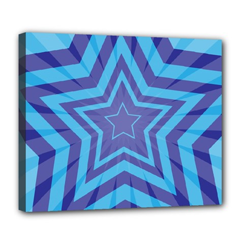 Abstract Starburst Blue Star Deluxe Canvas 24  X 20   by Amaryn4rt