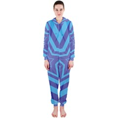 Abstract Starburst Blue Star Hooded Jumpsuit (ladies)  by Amaryn4rt
