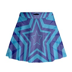 Abstract Starburst Blue Star Mini Flare Skirt by Amaryn4rt