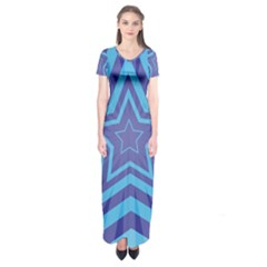 Abstract Starburst Blue Star Short Sleeve Maxi Dress by Amaryn4rt