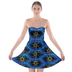 Blue Bee Hive Strapless Bra Top Dress