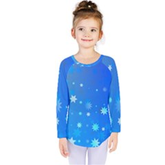 Blue Hot Pattern Blue Star Background Kids  Long Sleeve Tee by Amaryn4rt