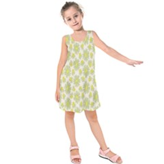 Another Supporting Tulip Flower Floral Yellow Gray Kids  Sleeveless Dress by Jojostore